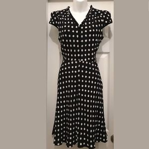 Kate Spade Black White Polka Dot Dress Fit Flare M